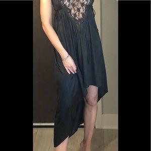 Other - VINTAGE soft high-low blk lace lingerie slip dress